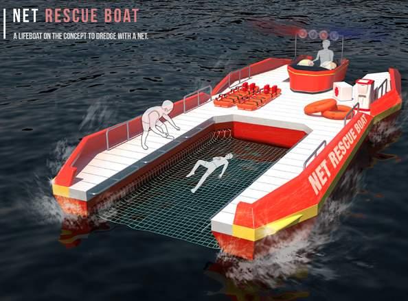 溺れた人を網ですくって助ける救命ボート「NET RESCUE BOAT」のアイデアが斬新すぎる 1番目の画像