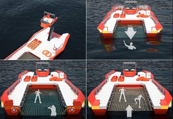 溺れた人を網ですくって助ける救命ボート「NET RESCUE BOAT」のアイデアが斬新すぎる 2番目の画像