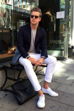 """白パンツ着こなしで目指す「爽やかメンズ」への道:春の季節感溢れる""""簡単おしゃれ""""着こなし  6番目の画像"""