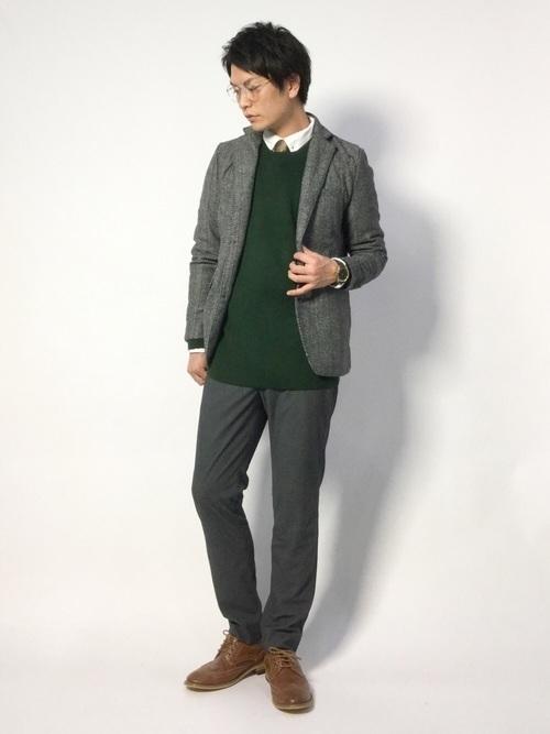 セーター×シャツ×ジャケットのビジカジメンズコーデ集 11番目の画像