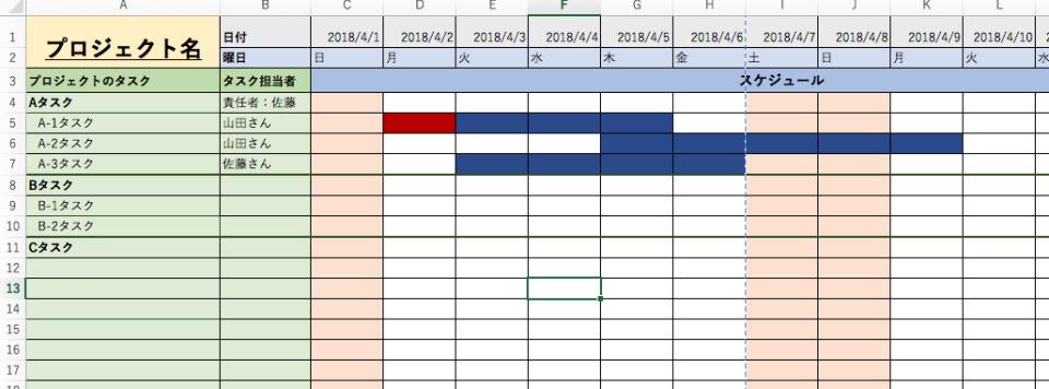 エクセルで進捗管理表を簡単&シンプルに作成する方法 3番目の画像