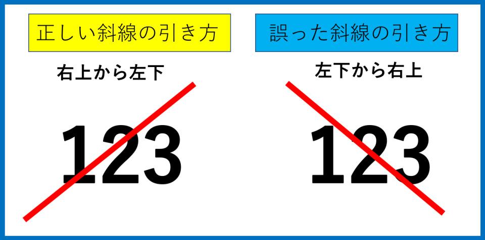 余白や誤字部分に斜線を引くときの「斜線の引き方・正しい向き」 2番目の画像