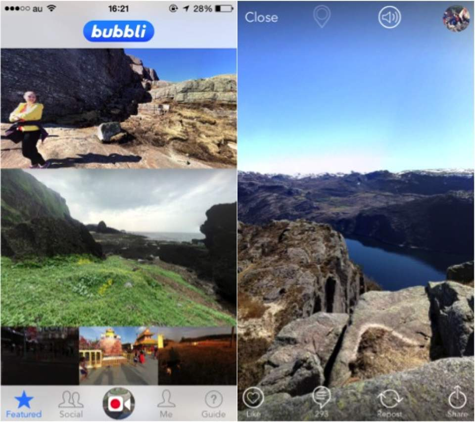 近未来の写真共有アプリ!360度、大迫力の写真が楽しめる「bubbli」がスゴすぎる… 2番目の画像