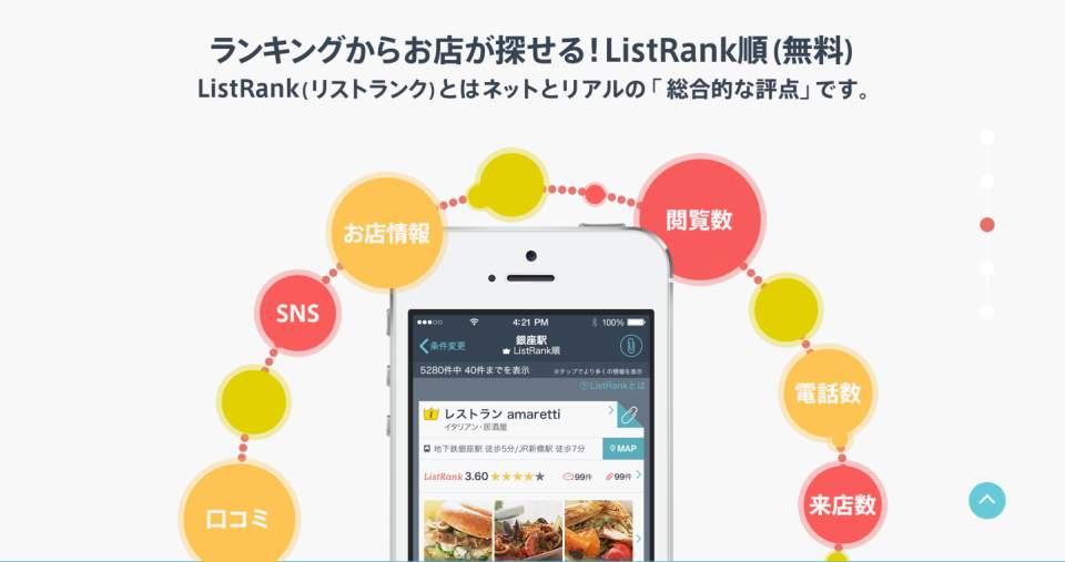 30秒で近場のお店ベスト3が分かる!ランチの時、超便利なグルメアプリ「ListRan」 2番目の画像