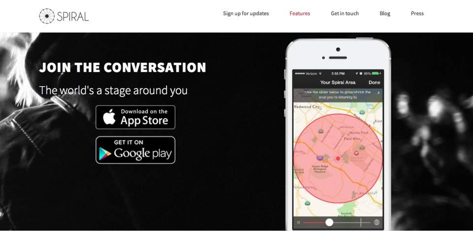 近くでアツい話題は何?有名人の目撃情報も知れるオモシロアプリ「SPIRAL」 1番目の画像