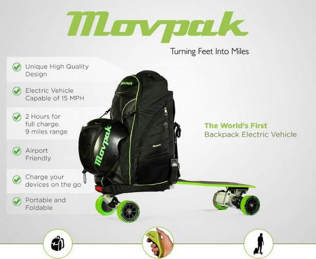 リュックに乗って移動!?変形して電動スケートボードに早変わりする「Movpak」がカッコいい 2番目の画像