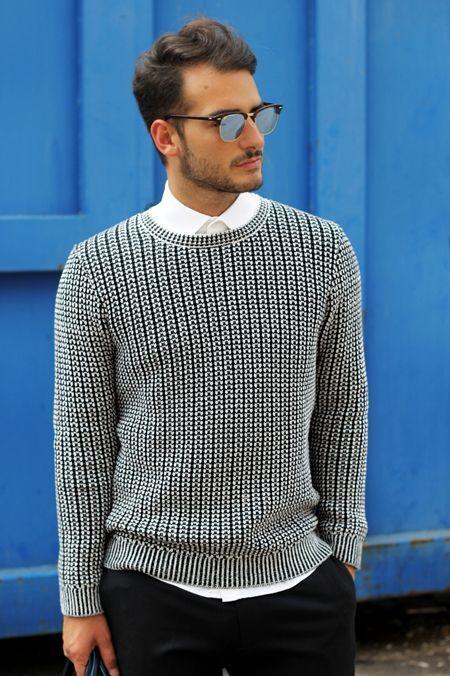 冬の定番セーター×シャツコーデを体得せよ! バリエーション豊かなセーターとシャツの組み合わせ集 3番目の画像