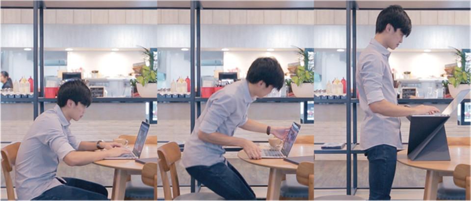 畳んでひねるだけの「LEVIT8」:スタンディングデスクで健康的なビジネスパーソンへ 3番目の画像