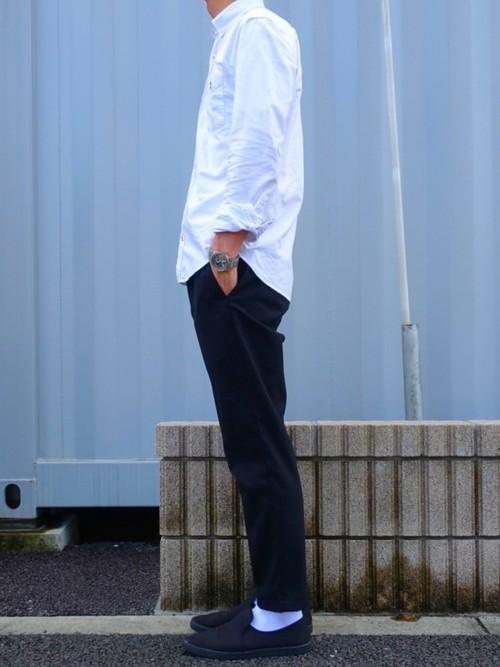 メンズ コーデ スラックス 黒 メンズの黒スキニー夏秋コーデ!guやユニクロはダサい?おすすめの靴や靴下!
