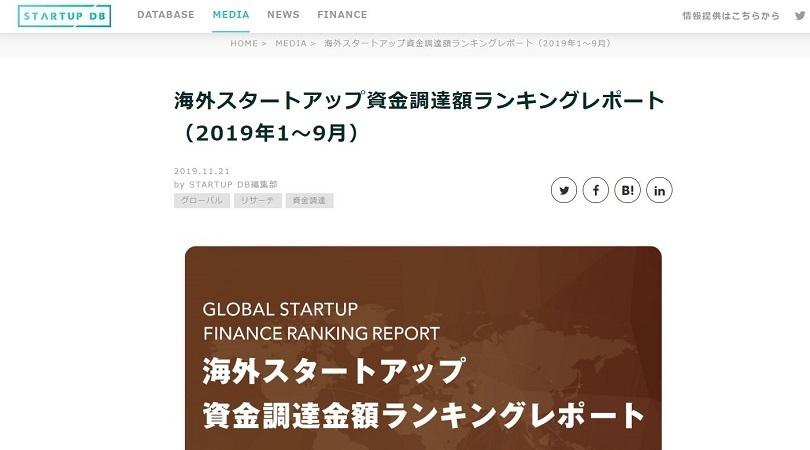 海外スタートアップ・資金調達ランキング調査結果を公開!上位はアメリカが独占、ソフトバンク出資も多数 1番目の画像