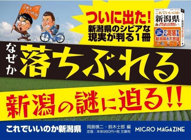 新潟からの人材流出が止まらない!新潟県を徹底調査した書籍「これでいいのか新潟県」 が発売 1番目の画像