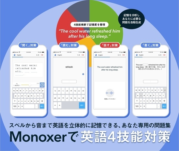 記憶定着の学習アプリ「Monoxer」が、語学学習のスピーキング強化を目指した新機能を追加 2番目の画像